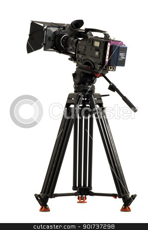 Professional digital video camera stock photo, Professional digital video camera on a white background. by Yury Ponomarev