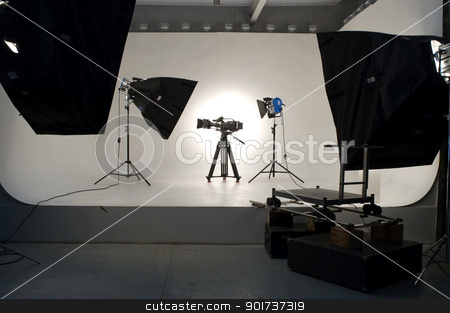 Studio Lighting. stock photo, Studio light on location for movie scene. by Yury Ponomarev