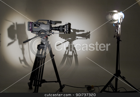 V the chamber in studio. stock photo, V the chamber in studio. Searchlight and silhouette of the chamber. by Yury Ponomarev