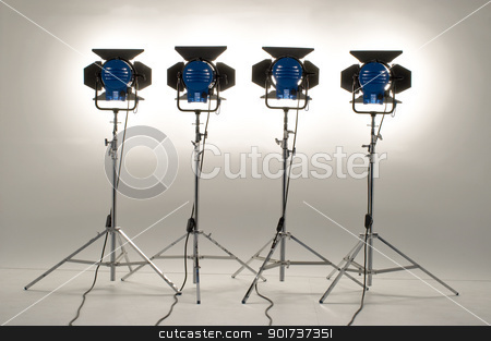 Four  searchlights. stock photo, Four  searchlights on a white background. by Yury Ponomarev