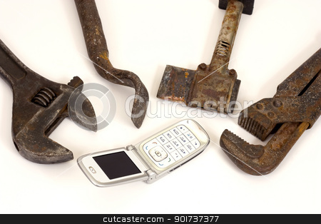 Tools and telephone. stock photo, Old  tools and modern telephone on a white background. by Yury Ponomarev