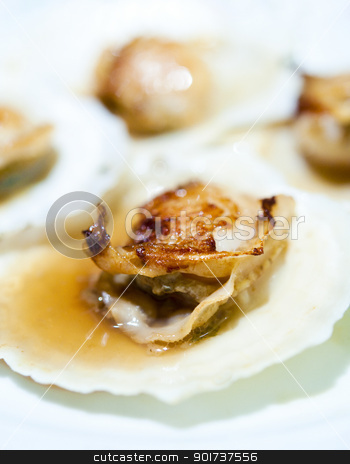 Baked Scallop stock photo, Close up on Japanese food, baked scallop. by szefei