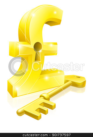 Pound key lock concept stock vector clipart, Conceptual illustration of a gold pound sterling sign and key. Concept for unlocking financial success or cash or for financial security. by Christos Georghiou