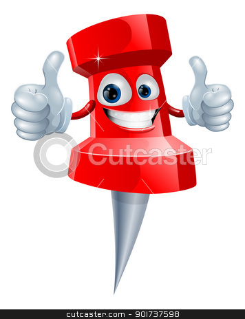 Push pin man stock vector clipart, A red happy red cute push pin man giving a double thumbs up by Christos Georghiou