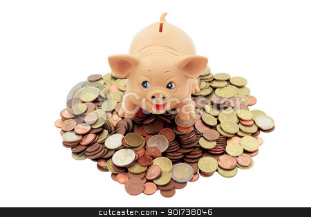 Porky with coins stock photo, piggy bank with a Porky on heap of euro coins and cents trimmed and isolated by croreja