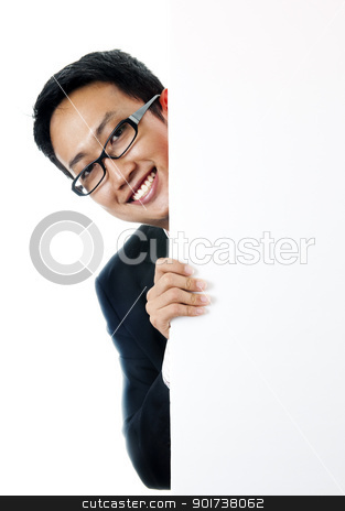 Blank paper for advertisment stock photo, Executive male hiding on a blank space. by szefei