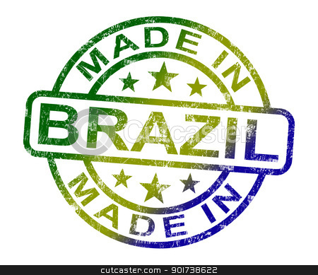 Made In Brazil Stamp Shows Brazilian Product Or Produce stock photo, Made In Brazil Stamp Showing Brazilian Product Or Produce by stuartmiles