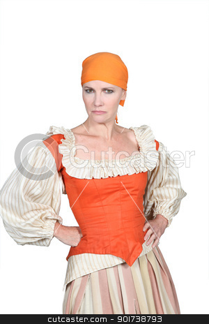Woman in pantomine outfit, frowning with her hands on her hips stock photo, Woman in pantomine outfit, frowning with her hands on her hips by photography33
