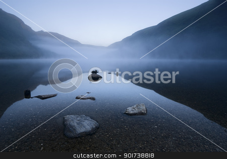 Twilight at mountain lake stock photo, Twilight at Upper Lake in Glendalough Scenic Park, Ireland by Tiramisu Studio
