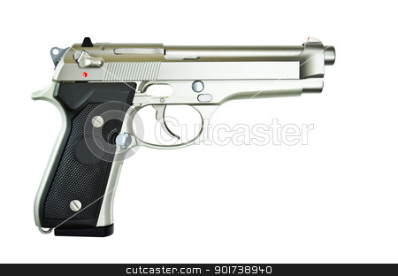 Weapons automatic pistol. stock photo, Weapons automatic pistol on white background by chatchai