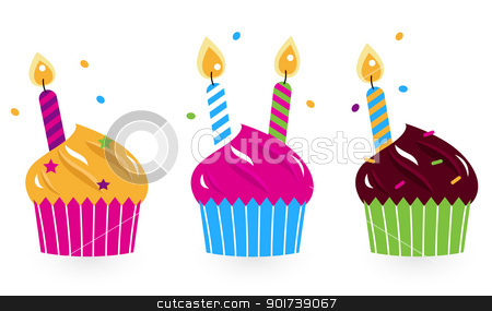 Birthday cakes collection isolated on white stock vector clipart, Collection of birthday cakes on white background. Vector by Jana Guothova