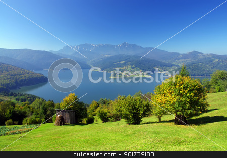 mountain and lake  stock photo, fresh summer landscape with Carpathian mountain and lake, Romania  by Ioan Panaite