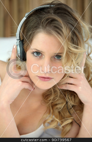 Blond woman with headphones audio stock photo, Blond woman with headphones audio by photography33