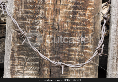 Prickly wire stock photo, Prickly wire on a background build boards. by Yury Ponomarev