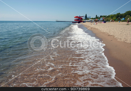 Sandy coast of lake. stock photo, Beautiful and unique lake of Kyrgyzstan. by Yury Ponomarev