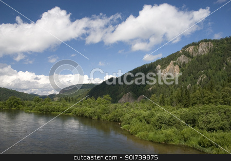 A river landscape with clouds. stock photo, Summer. A river landscape with clouds. by Yury Ponomarev