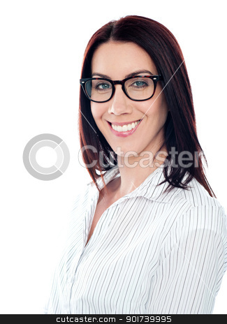 Smiling business lady in eyeglasses, closeup shot stock photo, Smiling business lady in eyeglasses. Close to camera by Ishay Botbol
