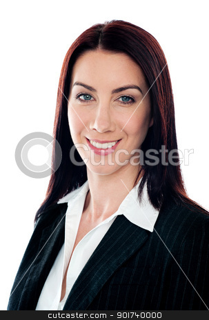 Closeup portrait of pretty businesswoman stock photo, Closeup portrait of pretty businesswoman smiling at camera by Ishay Botbol