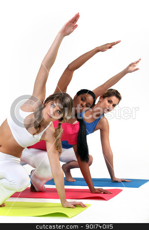 Three woman in gym class stock photo, Three woman in gym class by photography33