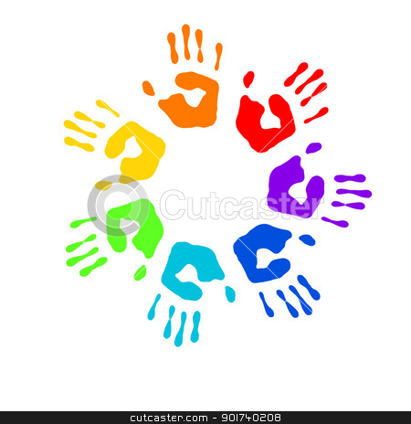 Color prints stock photo, Color prints of small children's hands on whine by Sergey Nivens