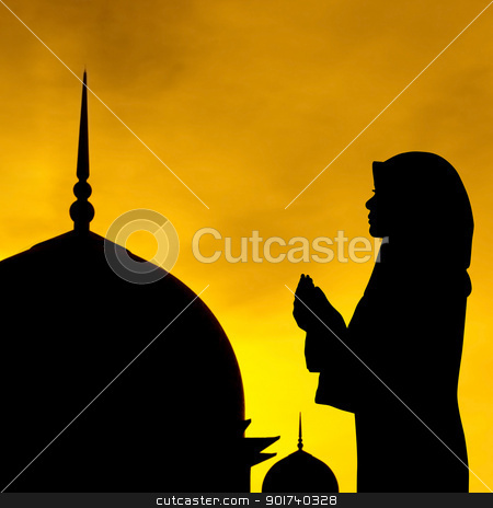 Silhouette of a mosque stock photo, Silhouette of a mosque in sunset. by szefei