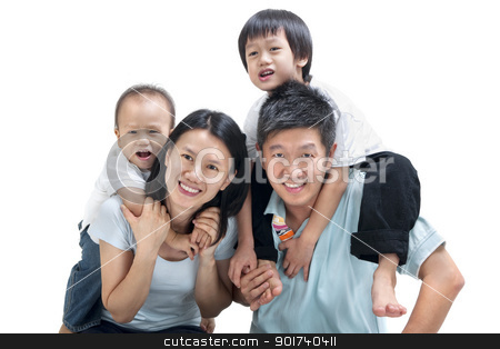 Happy Asian family stock photo, Happy Asian family on white background by szefei