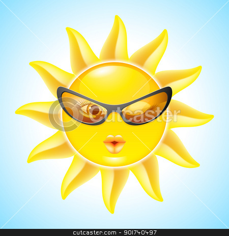 Cartoon Sun Characters stock photo, Winking Sun with Sunglasses. Cool Cartoon Character for design by dvarg