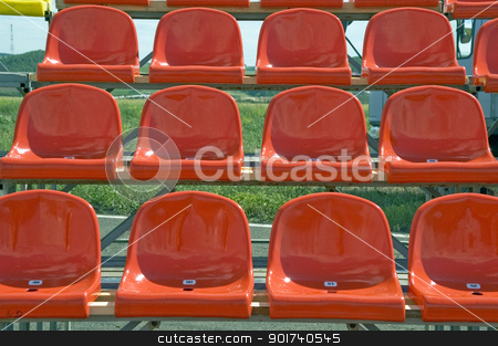 Red seats. stock photo, Lines of red seats. by Yury Ponomarev