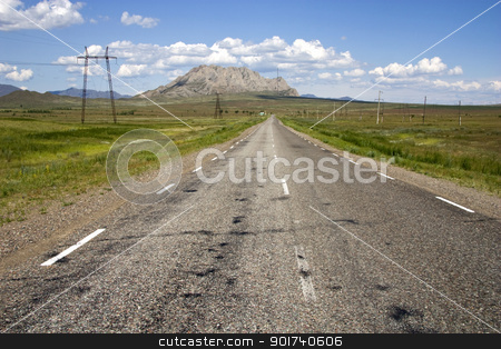 Empty highway. stock photo, Empty highway, blue sky, clouds. by Yury Ponomarev