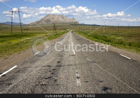 Road. stock photo, Highway, blue sky, clouds. by Yury Ponomarev