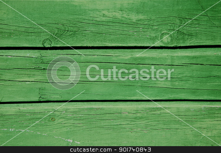 Background green paint wooden board wall closeup