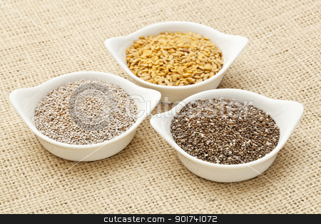 chia and flax seed stock photo, white and brown chia and golden flax seed in white ceramic bowls against burlap canvas by Marek Uliasz
