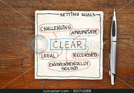 goal setting concept - CLEAR stock photo, CLEAR ( challenging, legal, environmentally sound,appropriate, recorded) goal setting concept - a napkin doodle on a grunge wooden table by Marek Uliasz