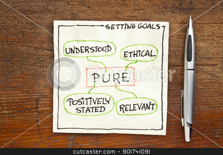 goal setting concept - PURE stock photo, PURE (positively stated, understood, ethical) goal setting concept - a napkin doodle on a grunge wooden table by Marek Uliasz
