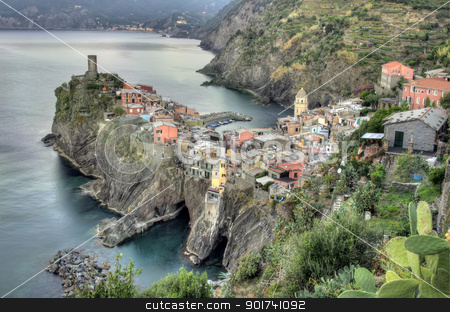 Vernazza village, Italy  stock photo, Cinque Terre, Vernazza fishing village, Italy  by Ioan Panaite