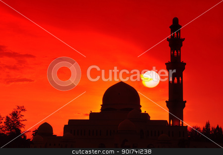 Silhouette of a mosque. stock photo, Beautiful sun setting at Floating Mosque, Terengganu, Malaysia. by szefei