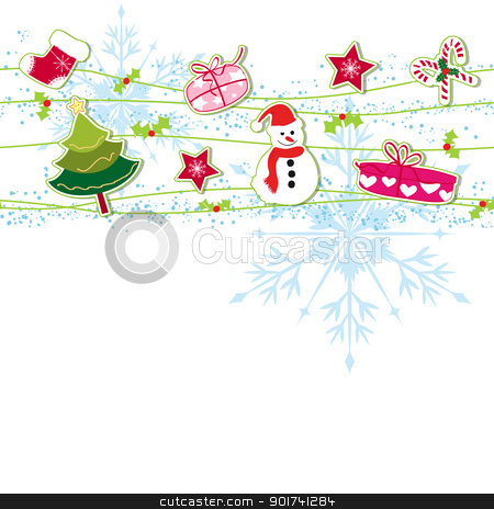Christmas ornament greeting card stock vector clipart, Christmas ornament greeting card by meikis