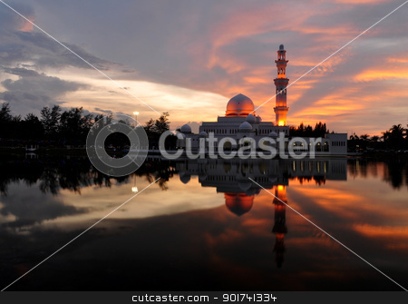 Mosque. stock photo, Masjid Tengku Tengah Zaharah or also known as Floating Mosque in Kuala Terengganu, Malaysia with reflection. by szefei