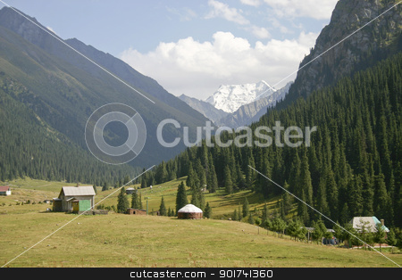 Mountain valley. stock photo, Mountains. The sky. Clouds. by Yury Ponomarev