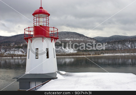 Beacon. stock photo, White beacon on a coast. by Yury Ponomarev