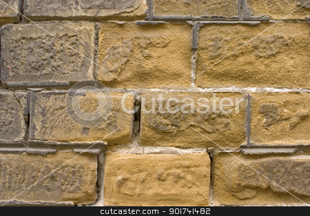 Old brick wall. stock photo, Old wall of a yellow brick. by Yury Ponomarev