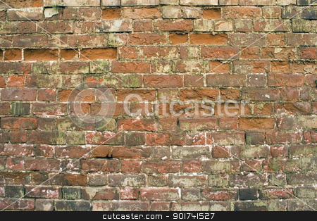 Brick wall. stock photo, Old wall from a red brick. by Yury Ponomarev