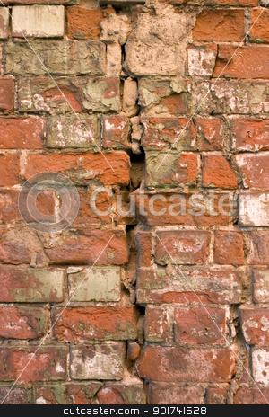 Old brick wall. stock photo, The damaged brick wall. by Yury Ponomarev