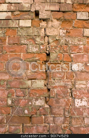 The damaged brick wall. stock photo, Old wall from a red brick. by Yury Ponomarev