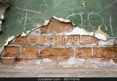 Old brick wall. stock photo, Old wall from a red brick. Green paint. by Yury Ponomarev