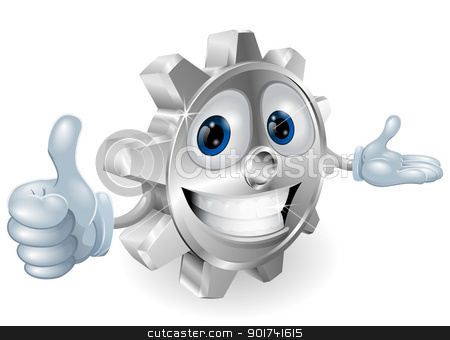 Cog thumbs up mascot illustration  stock vector clipart, Illustration of a cute cartoon cog mascot giving a thumbs up by Christos Georghiou