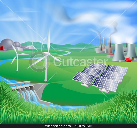 Electricity or power generation methods stock vector clipart, Illustration of many different types of power generation, including nuclear, fossil fuel or coal, and renewable energy or sustainable energy sources such as wind power or wind turbines, photovoltaic cells or solar panels, and hydro electric or water power by Christos Georghiou