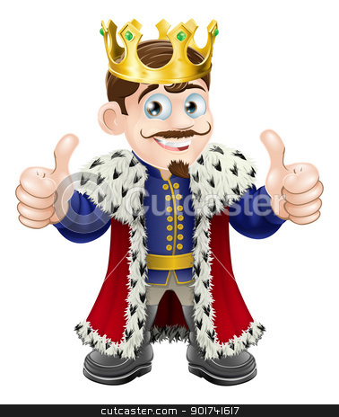 King cartoon stock vector clipart, Cartoon illustration of a cute king with crown and cape giving a double thumbs up by Christos Georghiou