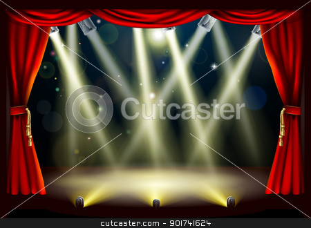 Theater stage lights stock vector clipart, Illustration of a theater stage with lots of stage lights or spotlights with footlights by Christos Georghiou