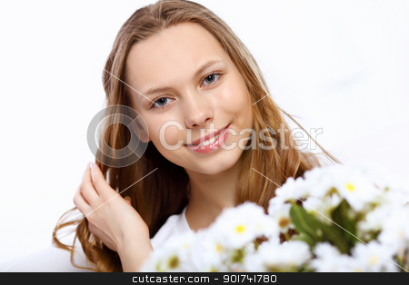 Young couple at home with present stock photo, Young woman receiving a gift from her boyfriend by Sergey Nivens